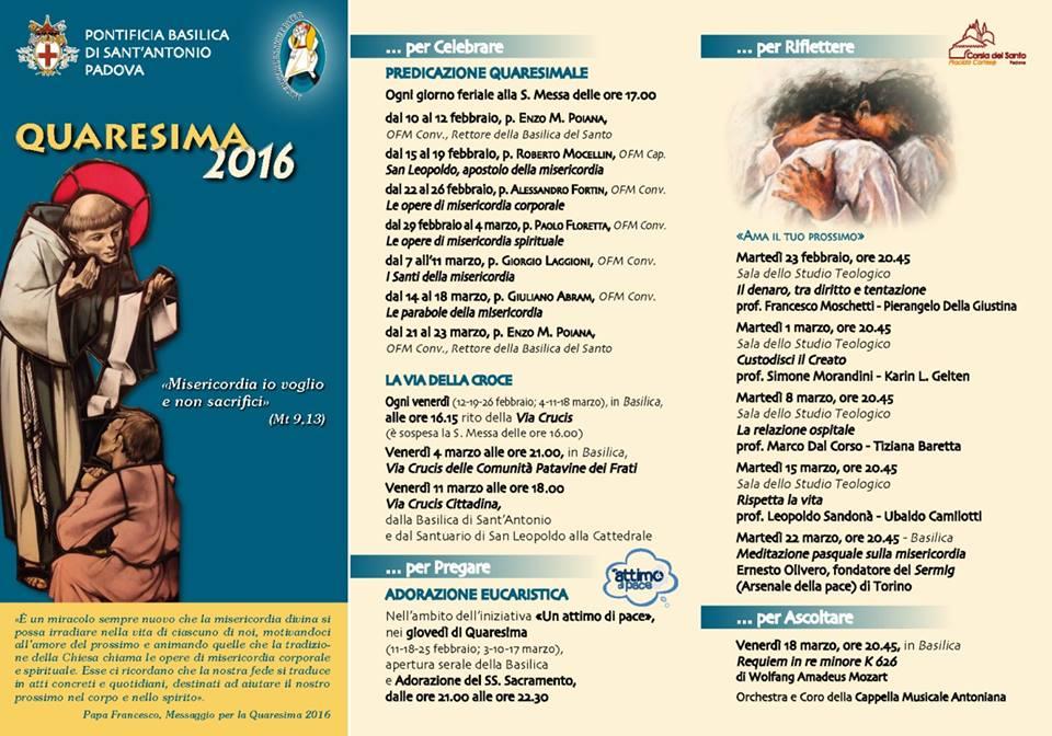 Iniziative per la Quaresima 2016