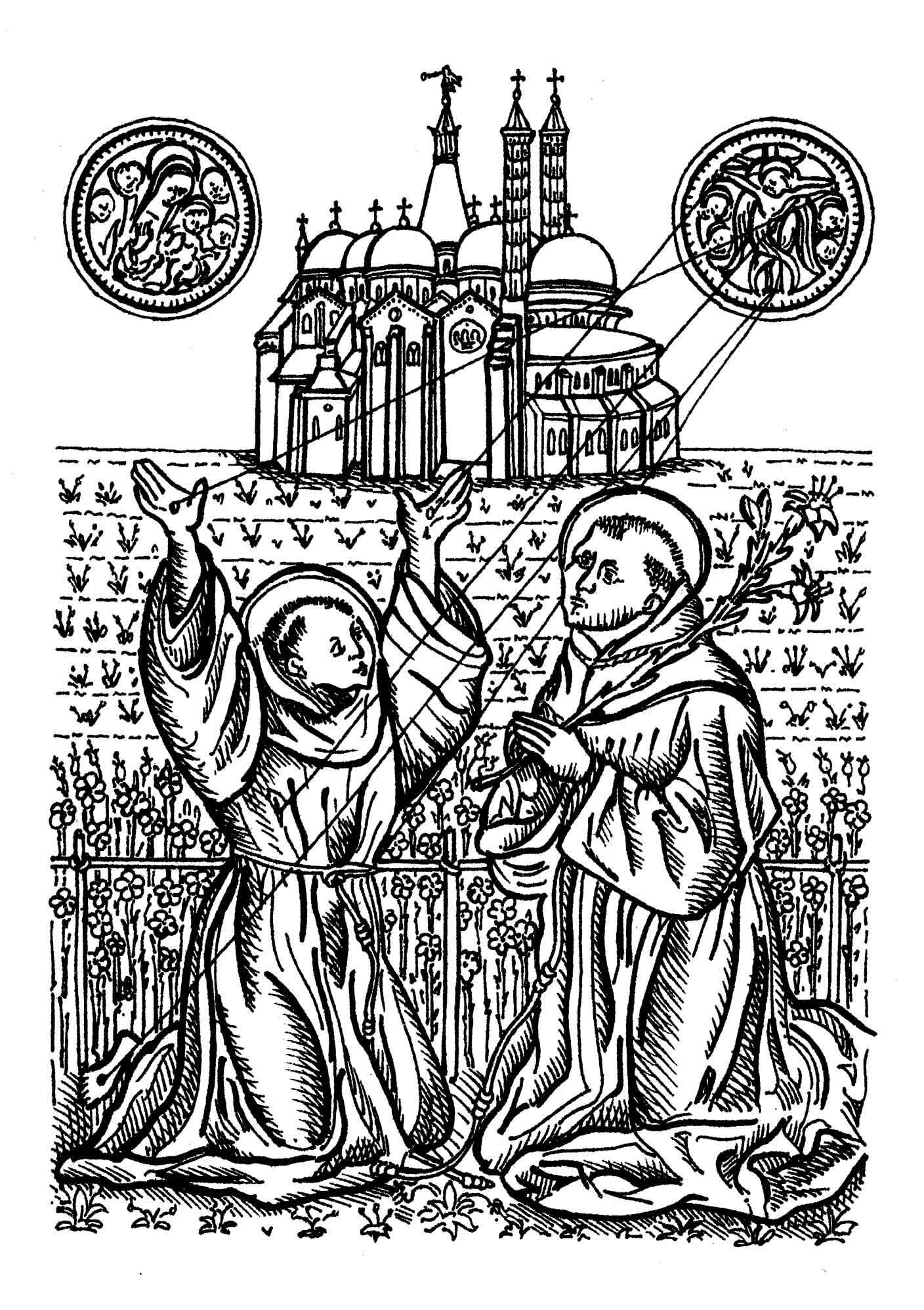 Basilica del Santo con s.Francesco che riceve le stimmate e sant'Antonio in preghiera.