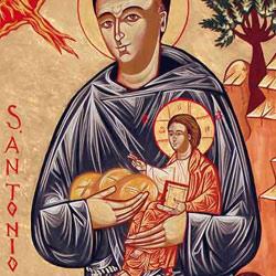 Sant'Antonio con Gesù Bambino, pane, madonna Povertà e il miracolo della predica a i pesci, Andrea trebbi, 2005